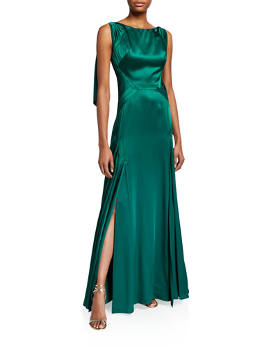 Satin Boat-Neck Draped-Back Gown