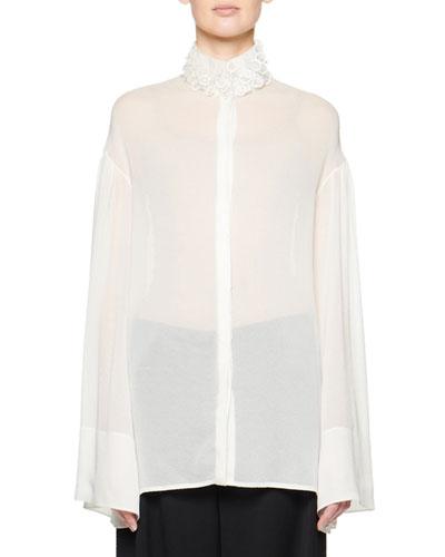 Sarabee Sheer Organza Button-Front Shirt