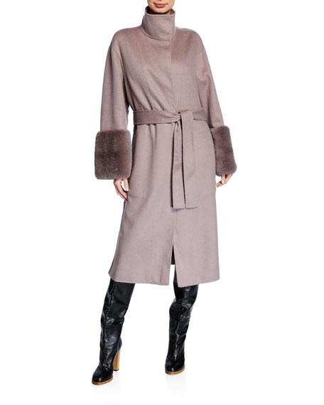 Agnona Cashmere Mink Cuff Coat