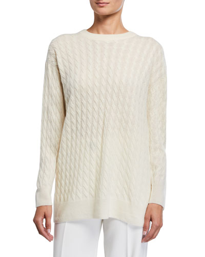 Minorj Cashmere-Silk Cable Knit Sweater