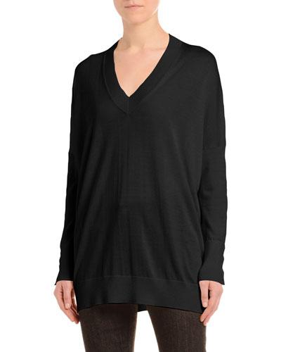 Cashmere-Silk Drop-Shoulder Sweater