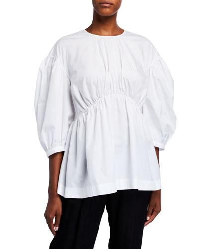 Poplin Button-Back Puff-Sleeve Top