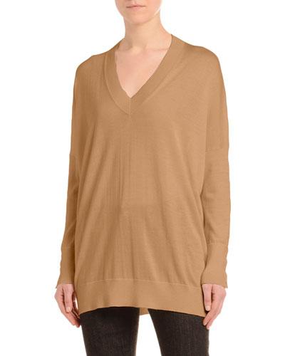 Cashmere-Silk Drop-Shoulder Sweater, Black