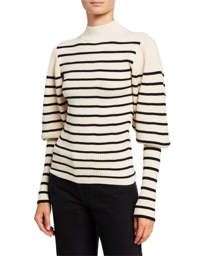 Joanne Puff-Sleeve Striped Wool Sweater