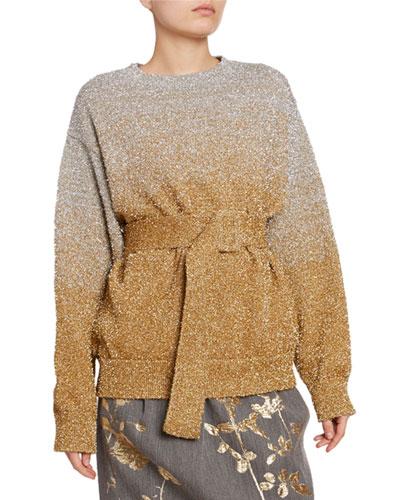 Metallic Ombre Wrap-Waist Sweater