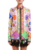 Versace Blonde-Print Silk Shirt