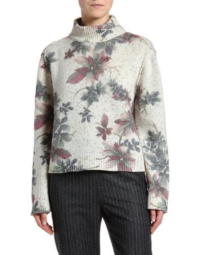 Shimmer Floral Mock-Neck Sweater