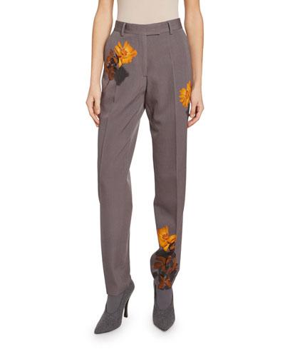 Pina Floral-Print Wool Pants