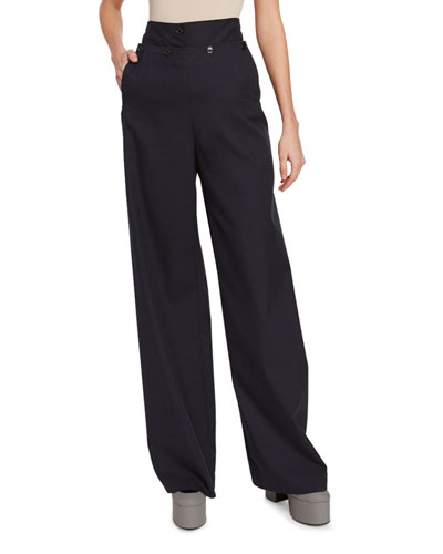 Wool High-Rise Sailor Pants