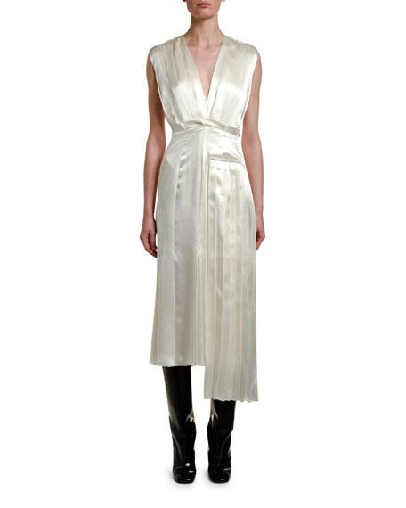 Marni Pleated Satin V-Neck Midi Dress