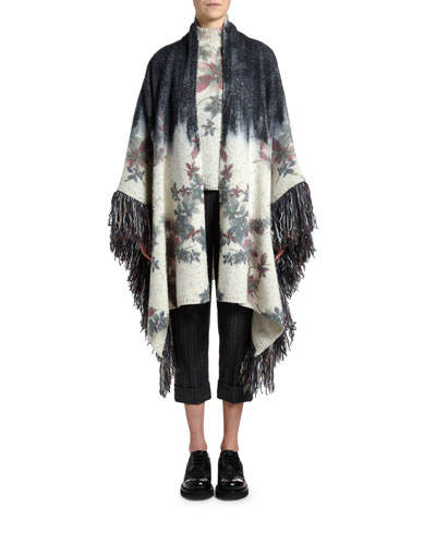 Fringed Floral Jacquard Sweater