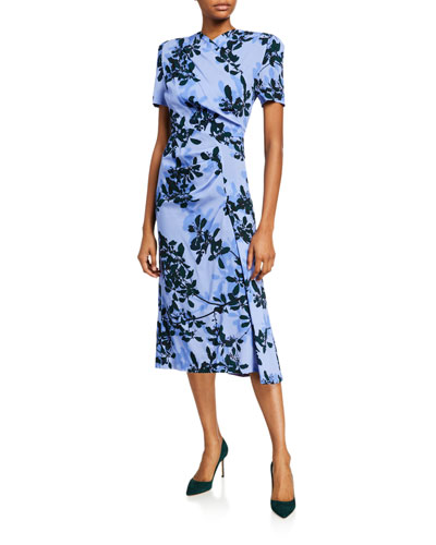 Dolores Floral-Print Draped-Front Dress