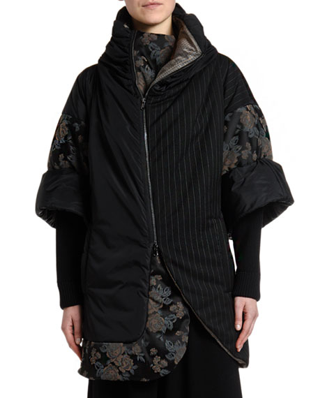 Antonio Marras Pinstriped & Damask Patchwork Crop Puffer Jacket