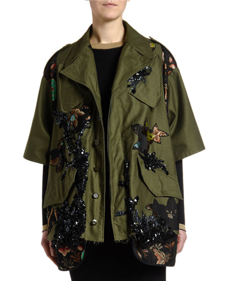 Antonio Marras Floral-Trim Sequined Crop Jacket