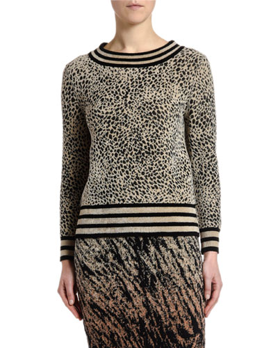Striped Micro Animal-Jacquard Sweater