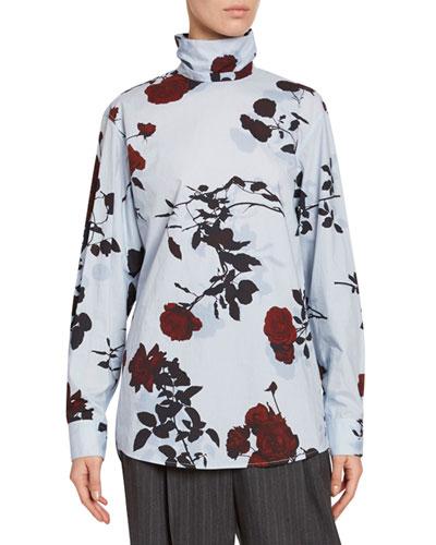 High-Neck Floral-Print Cotton Top