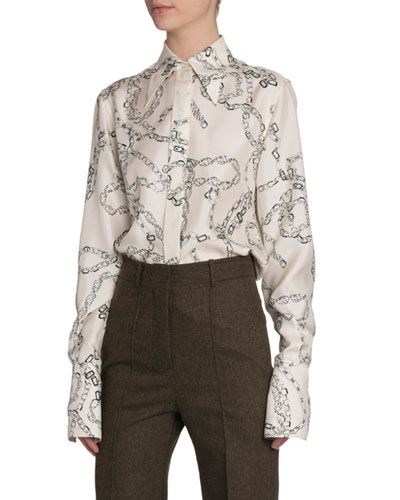Chain-Print Silk Button-Front Top