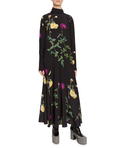 Floral Bouquet High-Neck Jersey Dress