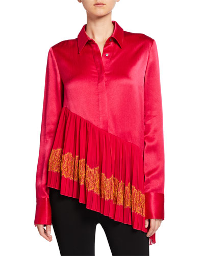 Silk Pleated Lace-Hem Shirt