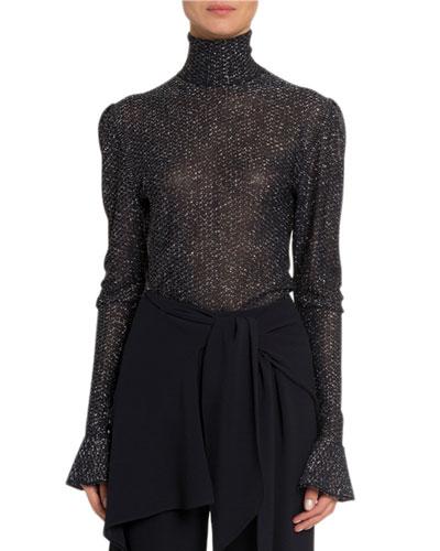 Shimmer Sheer Turtleneck Sweater
