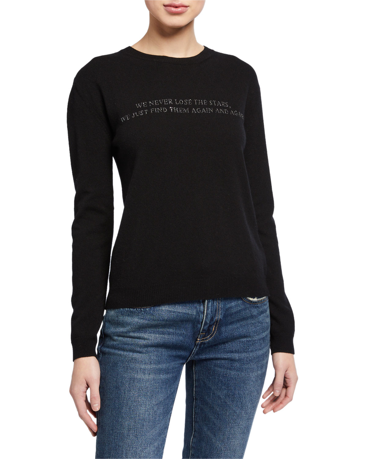 Valentino Knits KNIT POEM EMBROIDERED WOOL-BLEND SWEATER