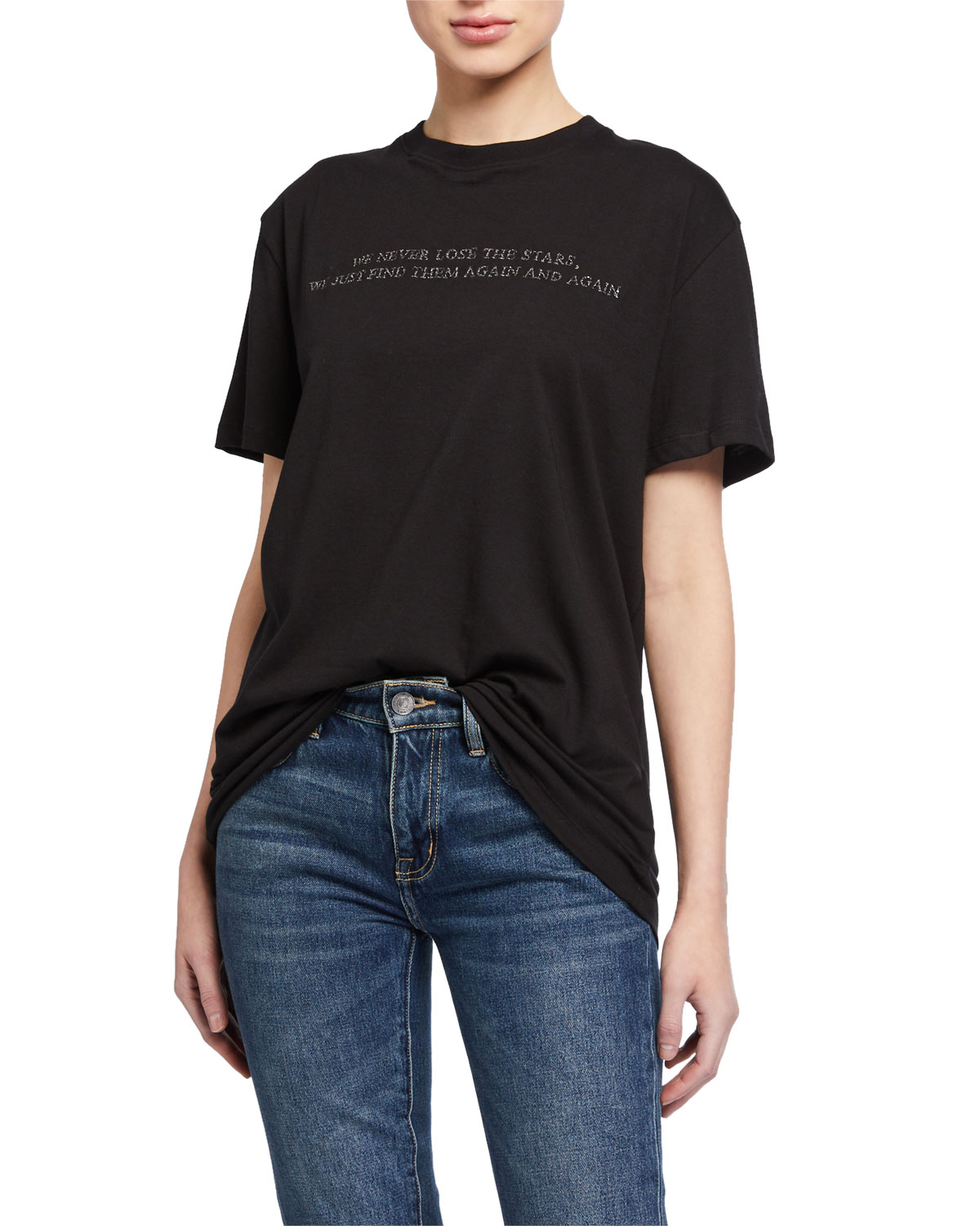 Valentino T-shirts POEM EMBROIDERED SHORT-SLEEVE JERSEY T-SHIRT