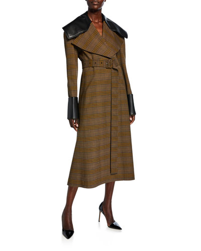 Faux-Leather Trim Belted Coat
