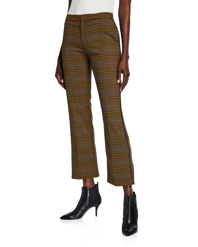 Plaid Cropped Cigarette Pants