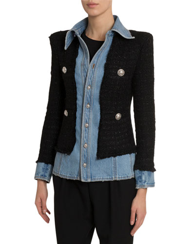Layered Denim Tweed Blazer