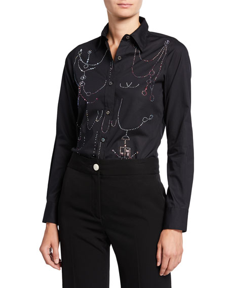 Libertine Victorian Swags Rhinestone Charm Button-Front Shirt