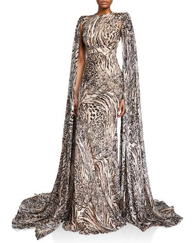 Alex Animal-Print Silk Chiffon Gown w/ Cape