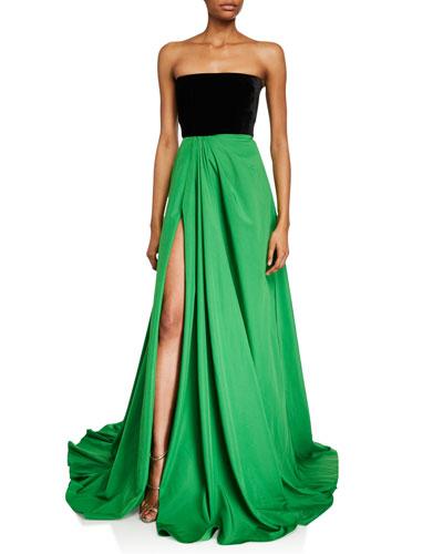 Dalton Velvet & Taffeta Strapless Gown