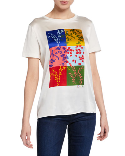Essmani Colorblocked Silk-Front Tee