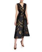 Escada Dimiwa Floral Shantung Midi Dress