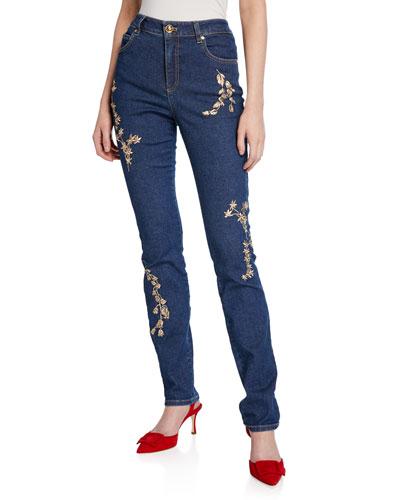 J659 Floral Embellished High-Waist Jeans