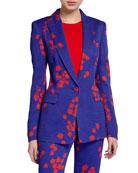 Escada Begasha Floral-Print Slim-Fit Blazer