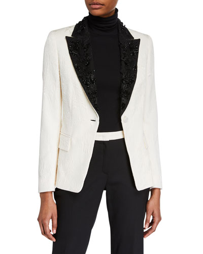 Beaded Floral-Jacquard Lapel Blazer Jacket