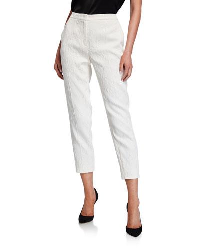 Talaranto Floral Jacquard Pants, White