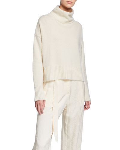 Cashmere-Silk Boxy Turtleneck Sweater