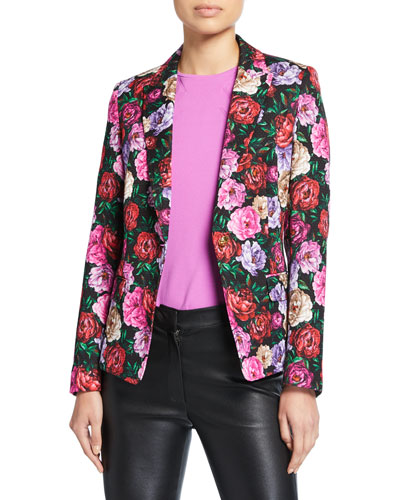 Dinavia Floral-Print Hammered Cotton Jacket