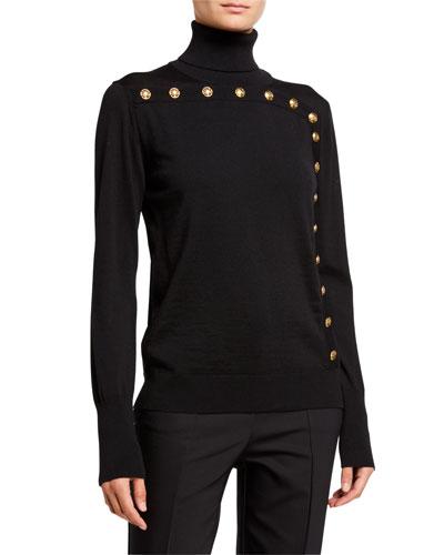 Seton Wool Turtleneck Sweater w/ Button Trim