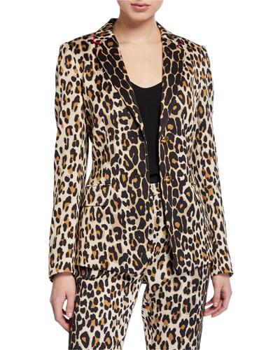 Brikenanti Leopard-Print Blazer Jacket