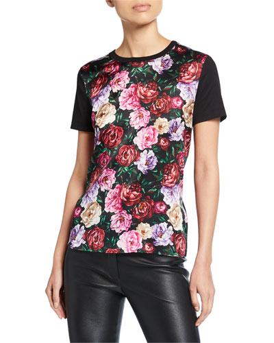 Ellamini Peony-Print Silk-Front T-Shirt