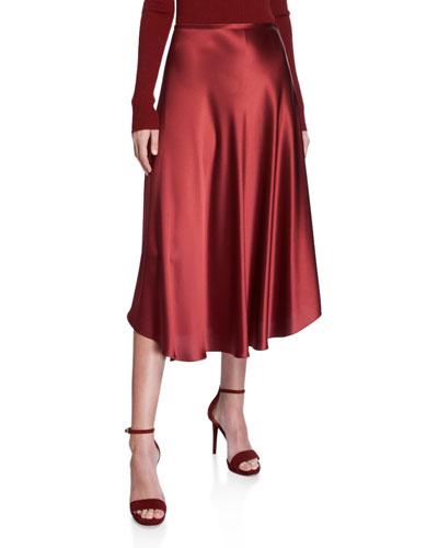 Flowy Satin Midi Skirt