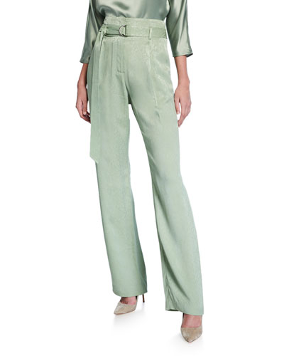 Snake Satin High-Rise Pants, Green