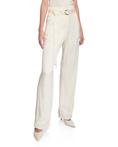 Snake Satin High-Rise Pants, Ivory