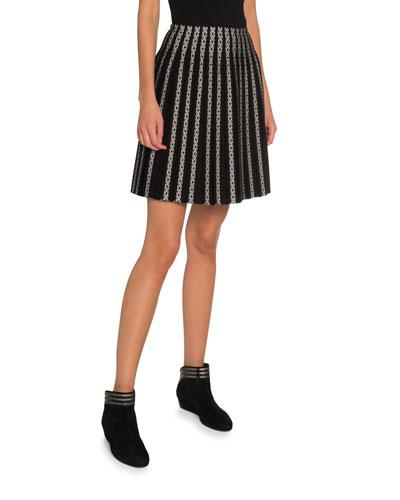 Vertical Striped Pleated Short Skirt