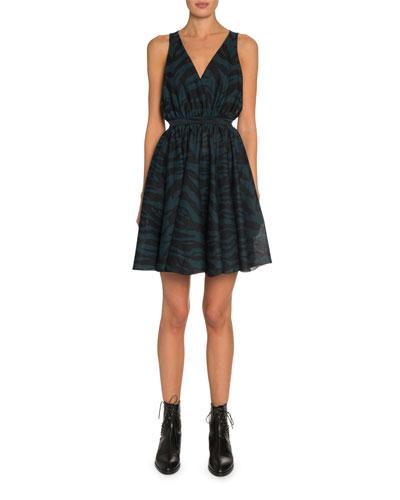 Zebra-Jacquard Sleeveless A-Line Dress