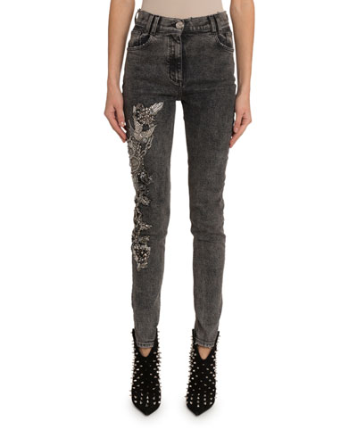 Crystal-Embroidered Skinny Jeans