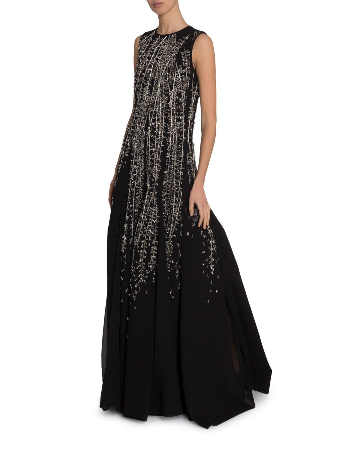 Givenchy Crystal Embroidered Sleeveless Gown In Black/Silver